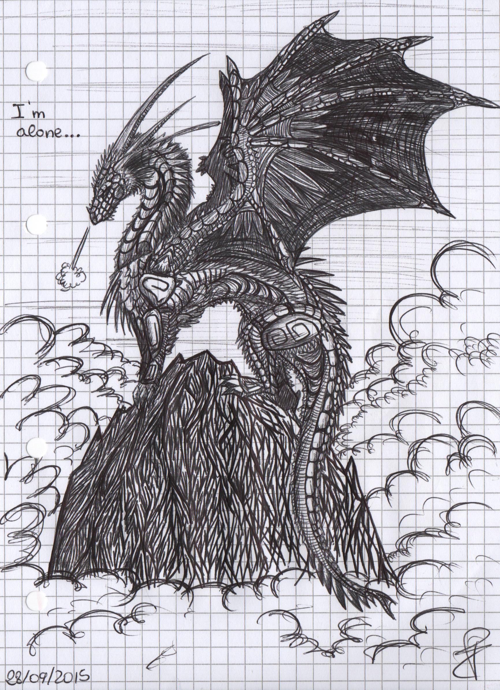 Im alone old pen mandalha drawing
