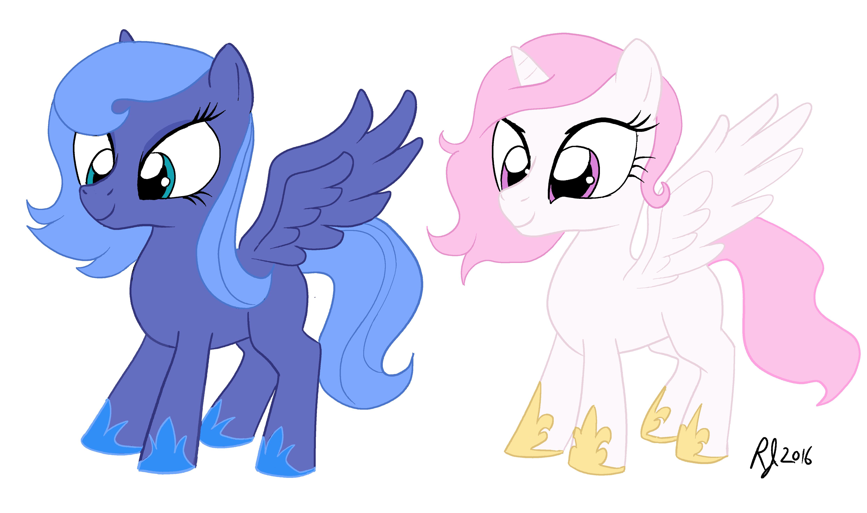 Filly Princess Luna and Princess Celestia — Weasyl