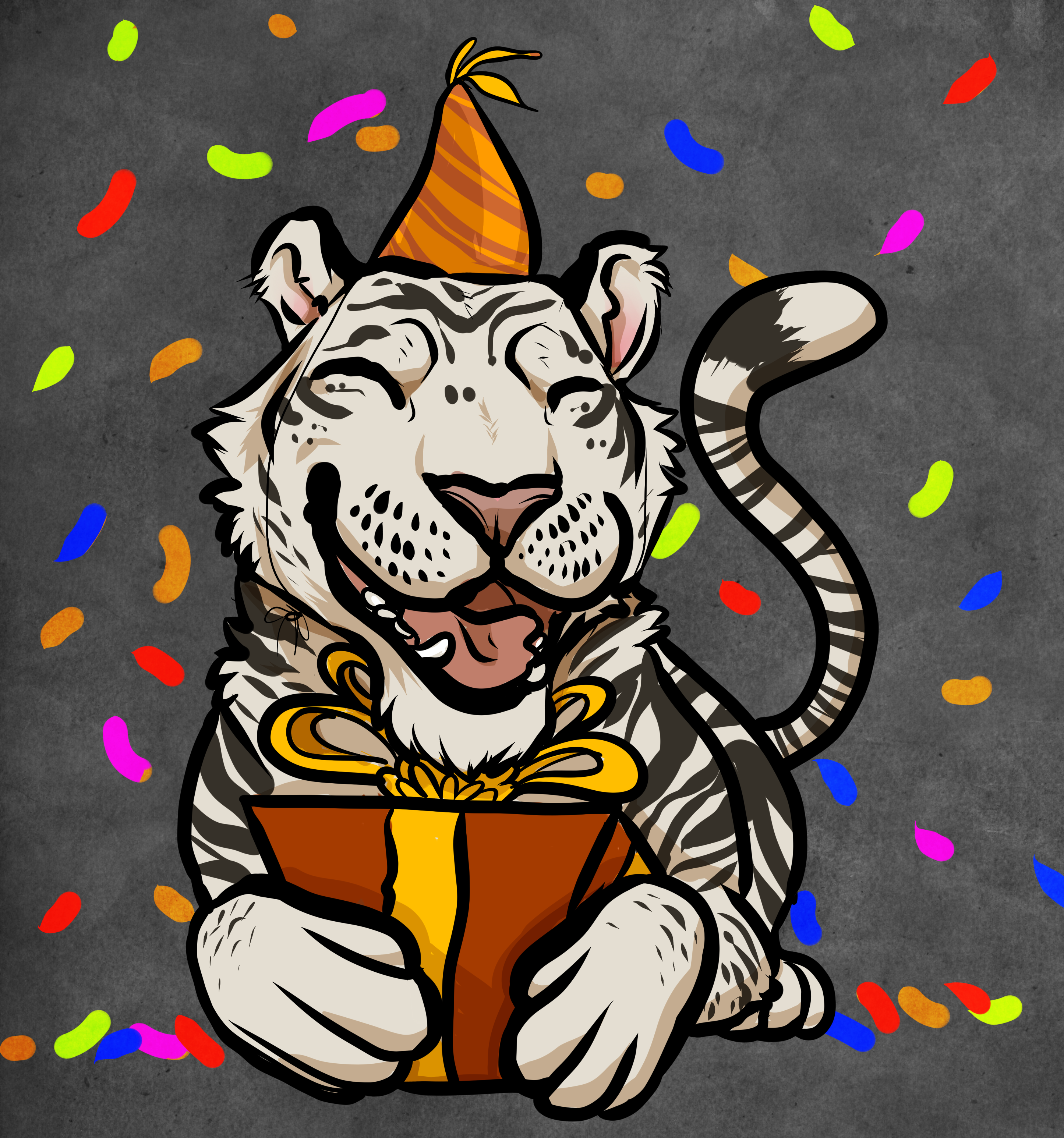 Поздравления, открытка с тигрой
