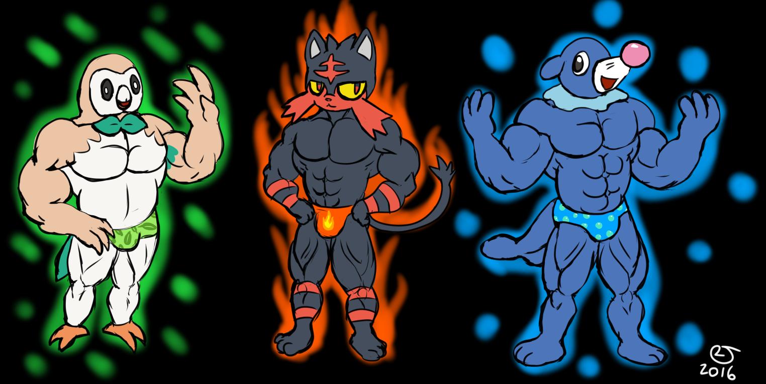 pokemon sun and moon buff anthro starters weasyl