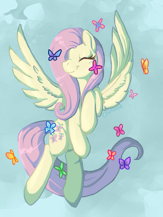 fluttershy flying with butterflies - 453×600