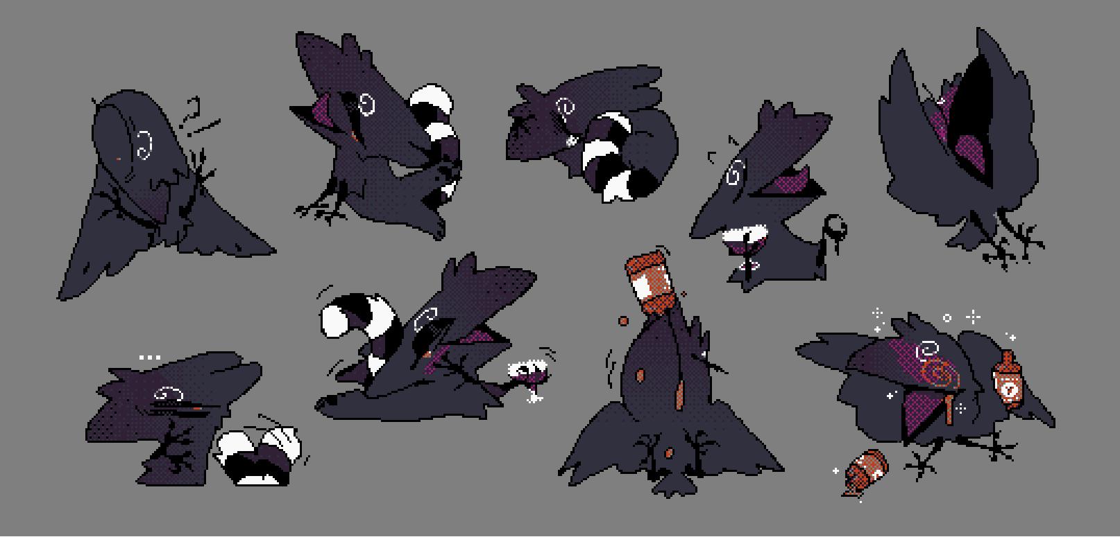commission: drinky crow [telegram sticker set] — Weasyl