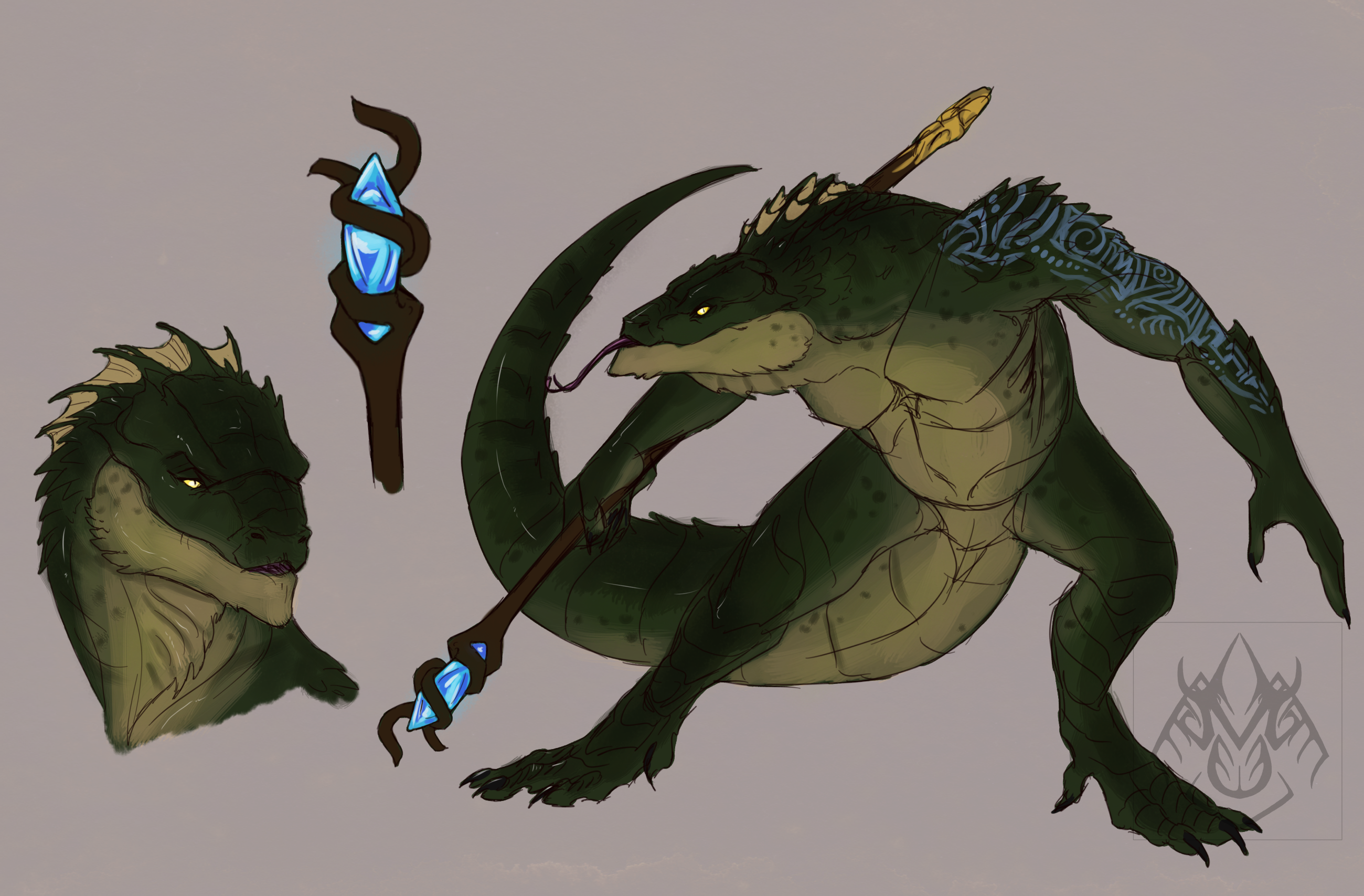 Dark Blue Green Eyes Coatl, Dark Lizardman ...