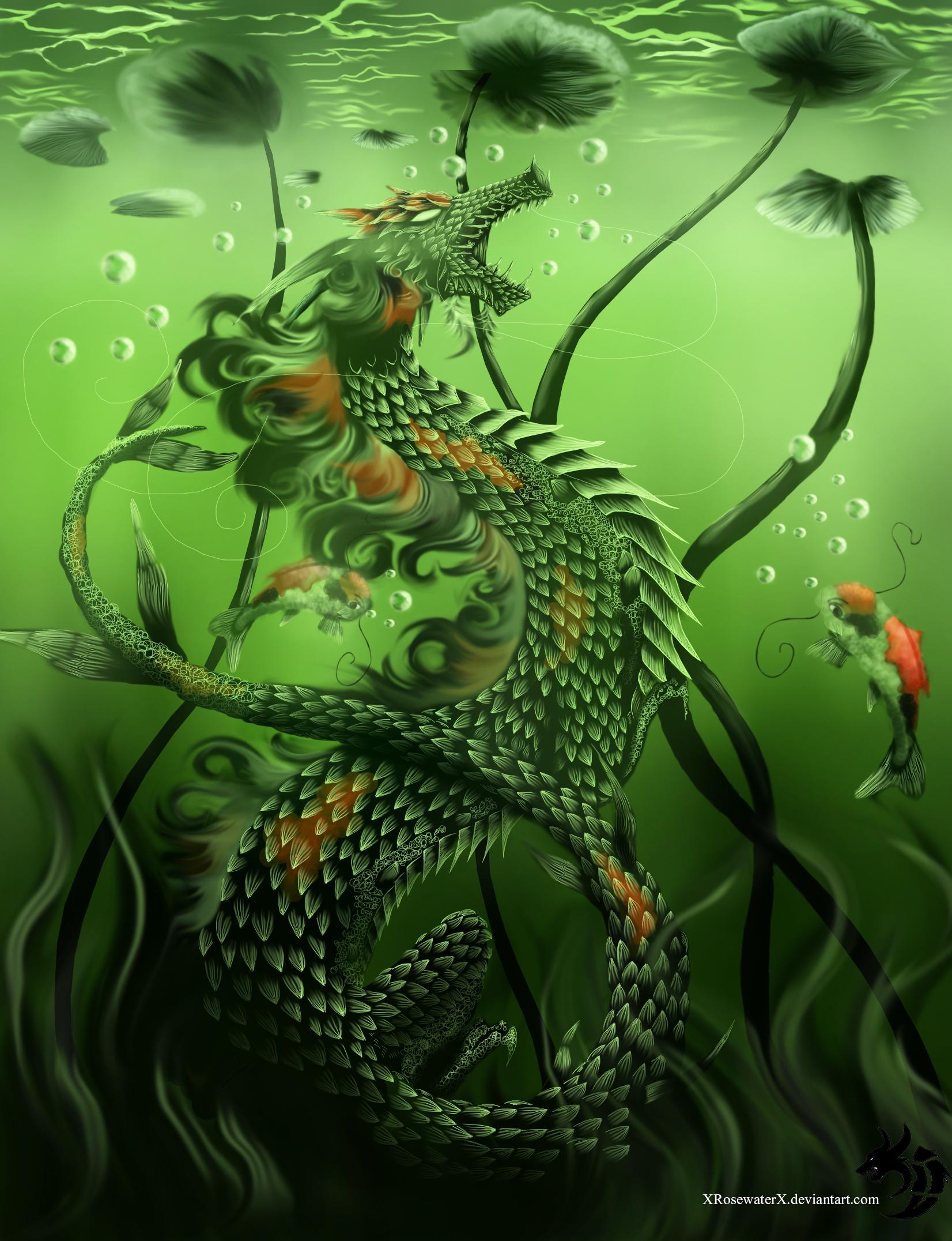 Koi fish fantasy weasyl for Green koi fish