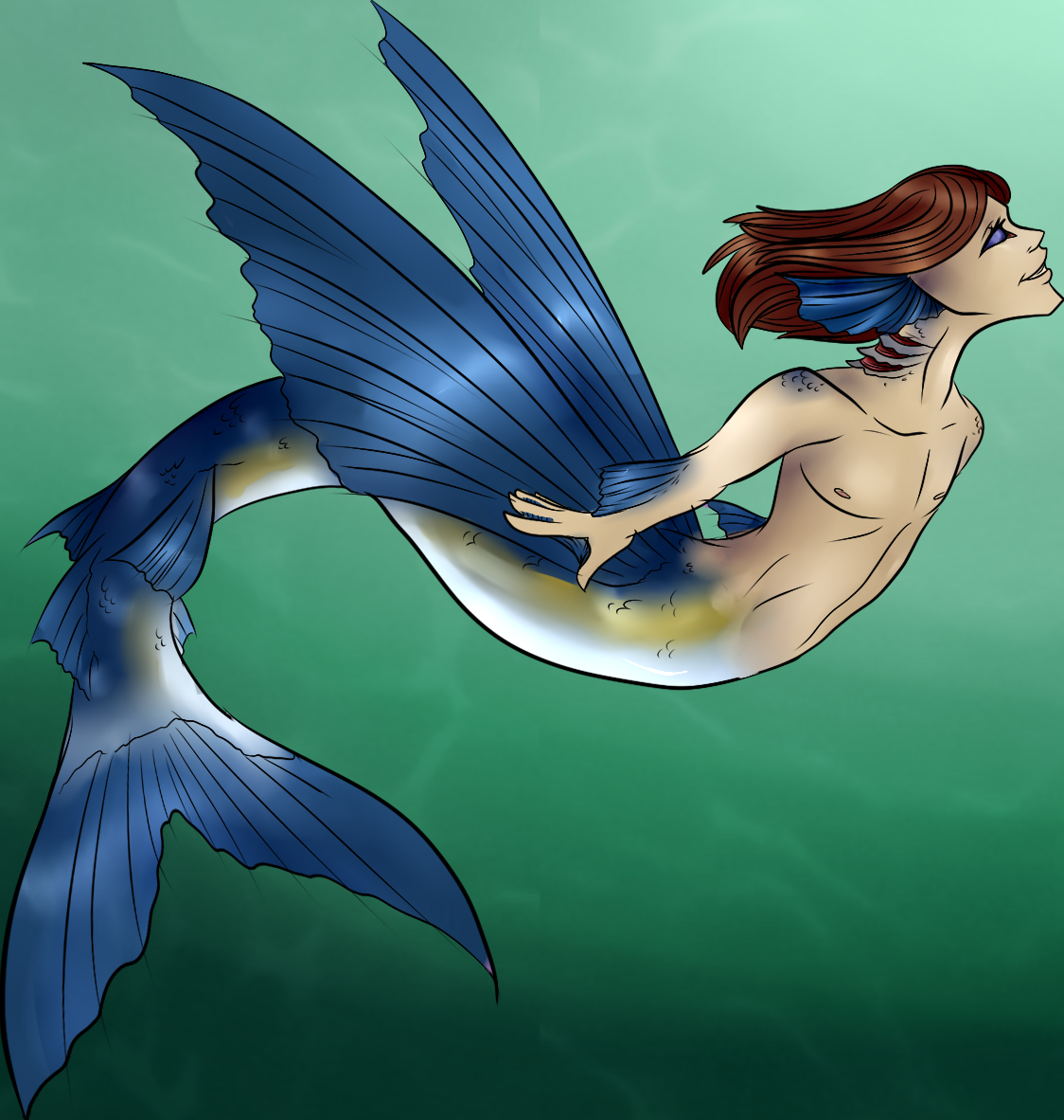 Flying fish merman weasyl for Flying fish drawing
