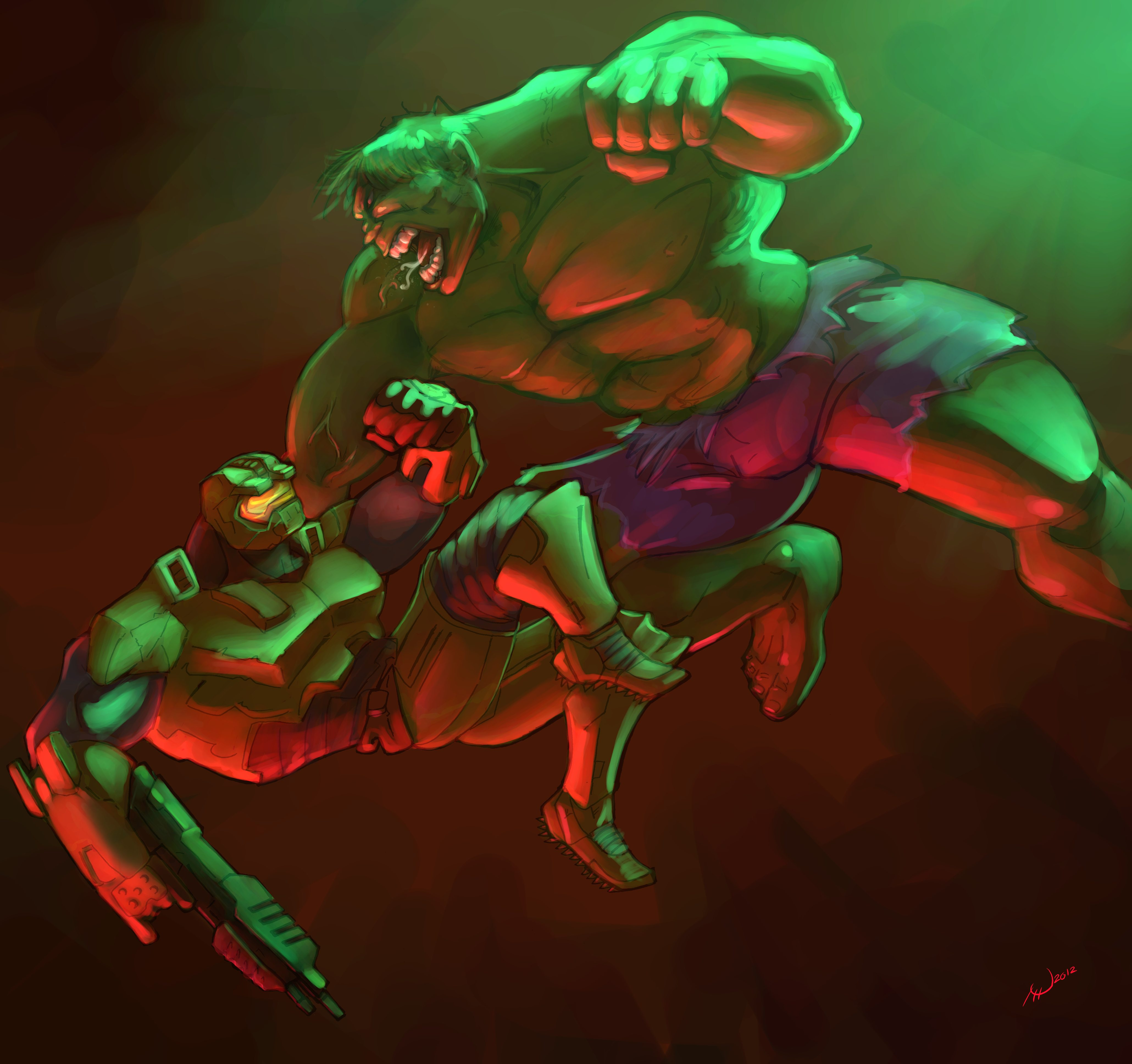 hulk vs masterchief — Weasyl  hulk vs masterc...