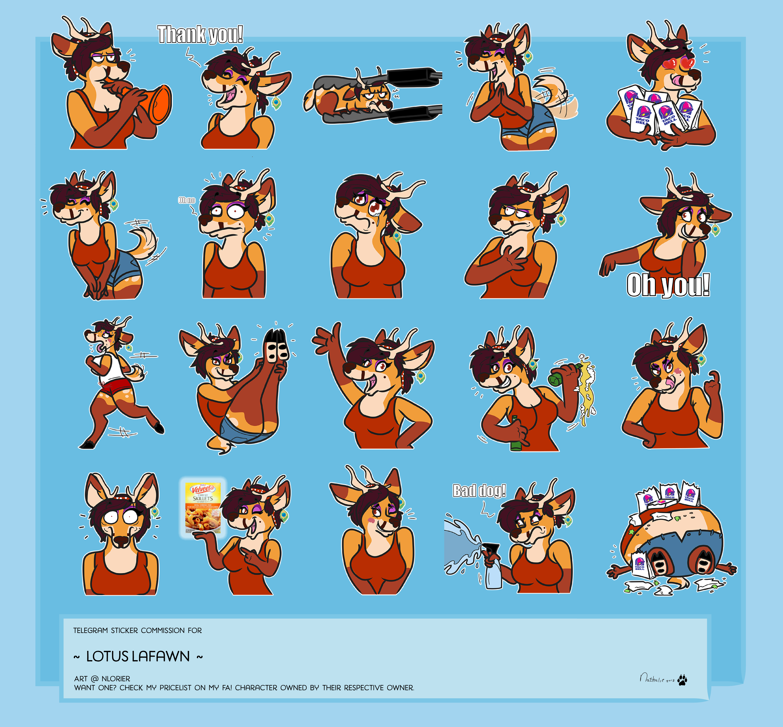 Telegram Sticker Commission For Lotus Lafawn Weasyl