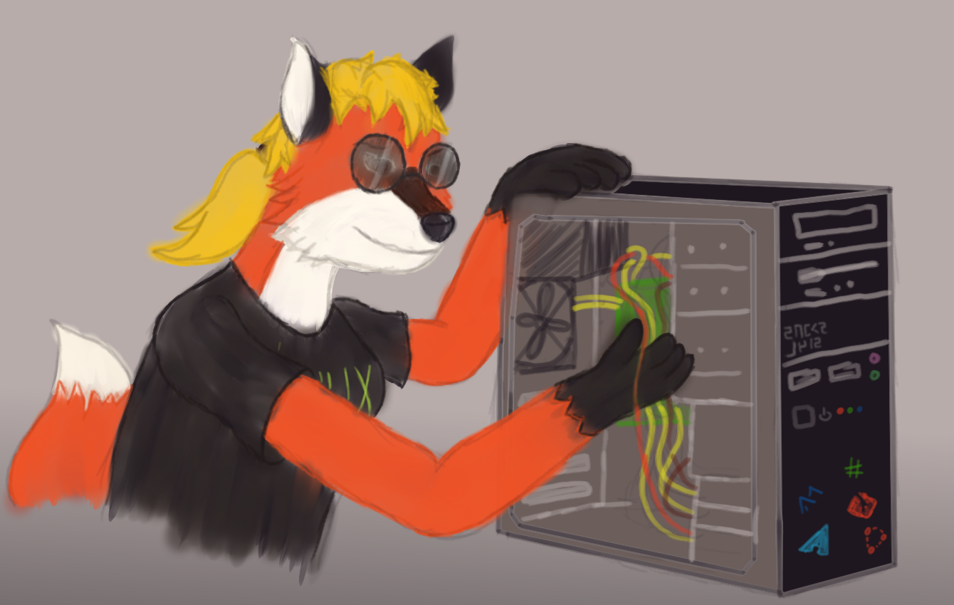 Xenia fixing a computer with horrible cable management