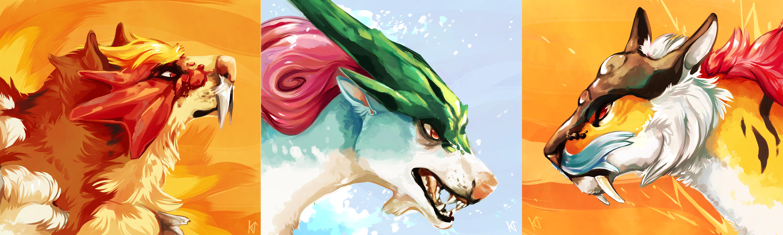 Entei, Suicune, and Raikou — Weasyl