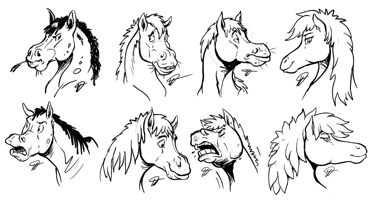 horse head sketches weasyl