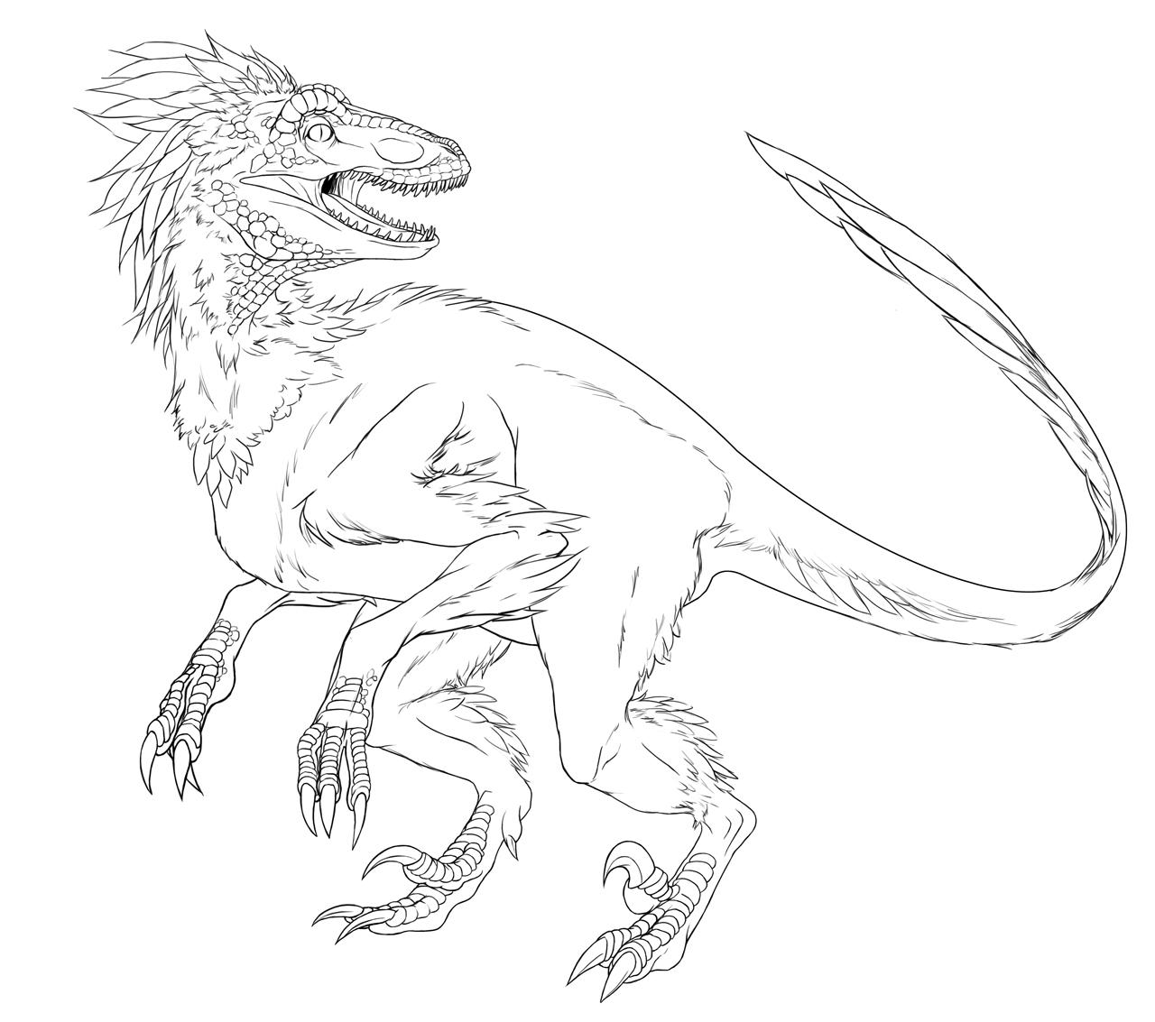 Utahraptor skeleton drawing sketch coloring page for Utahraptor coloring page