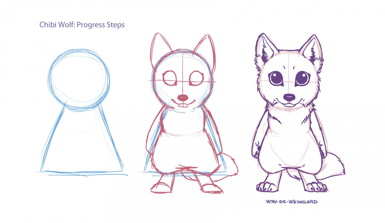 how to draw a chibi wolf step by step